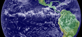 Earth cenered on the equatorial pacific west of south america.