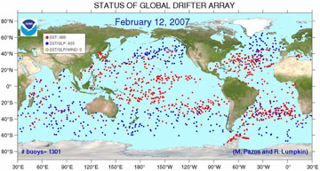 global drifter array status from december 2005, description follows