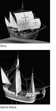Nina and Santa Maria ships from Columbus' fleet