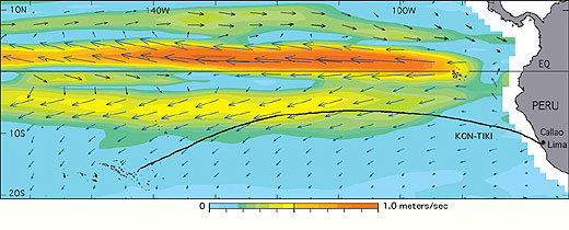 equatorial pacific wind speeds and directions with Kon-Tiki route, description follows width=